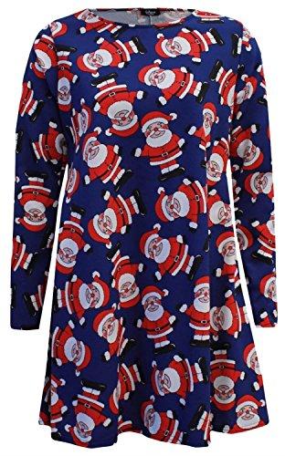 Chocolate Pickle® Nouveau Dames Santa Neige Homme Tartan Noël Thème Imprimer évasé Balançoire Robe 36-54 Royal Blue Santa
