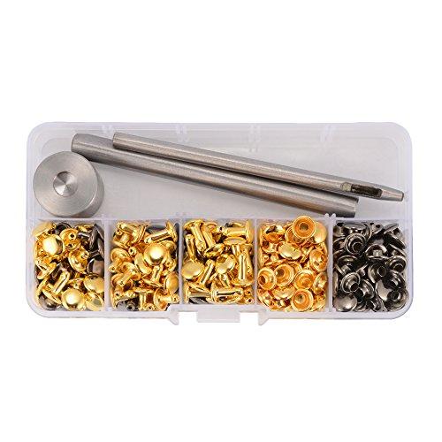 XCSOURCE® 126Sets Double Cap Nieten 8x6mm 8x8mm 8x10mm Röhrenbolzen Rapid Leder DIY Handwerk Reparatur Dekoration (Gunmetal und Gold) CR034 (Nieten-doppel-gurt)
