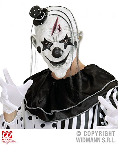 Killer Clown Maske mit Haaren und Hut - Pierrot