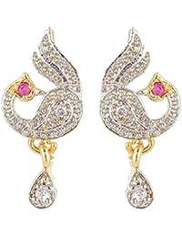 SKN Silver And Golden American Diamond Dangle & Drop Peacock Stud Earrings For Women & Girls (SKN-1315A)