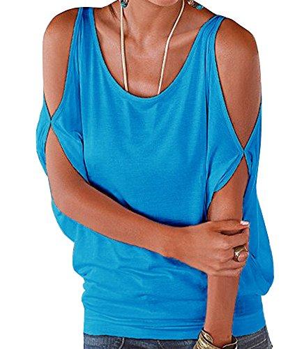 Donna Girocollo Spalla Off T Shirt Bluse Maglie A Manica Corta Sciolto Casuale Camicie Tops Blu