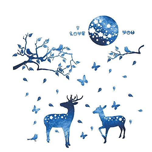 QYFMUZI Etiqueta de la Pared Adhesivo De Pared Azul Luna Noche Pequeños Ciervos Vinilo para La Pared Decoración del Hogar DIY Art Poster