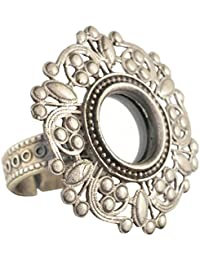 Handicraft 92.5 Sterling Silver Fashionable Mirror Arcce Ring for Girls - Size: Free Size (ss9250628)