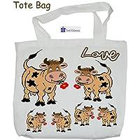 Texti-cadeaux-Tote Bags, agréable au toucher, motif Vache, à personnaliser…..