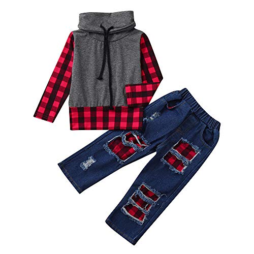 Kinder Jungen Pullover Jeans Set Langarm Plaid Panel Top + Loch Denim Plaid Patch Hosen Set Fashion Herbst Winter Warm Casual Sweatshirt Set