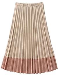 Packitcute Falda Plisada Larga Dulce Colegiala Faldas japonesas de Gamuza Patchwork para el otoño y el