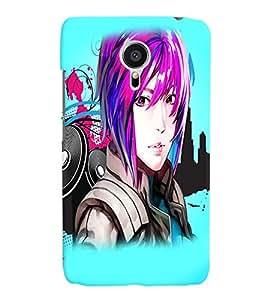 Fuson Music Girl Back Case Cover for MEIZU MX5 - D3809