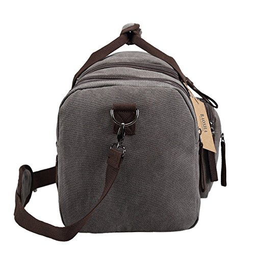 BAOSHA HB-21 Unisex Canvas Sporttasche Reisetasche Großräumige Handtasche Schultertasch Handgepäck Weekender Tasche Vintage Segeltuch Sporttasche für Reise (Grau) Grau