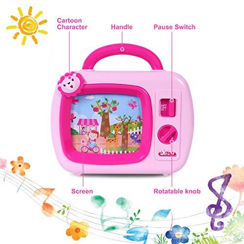 SGILE Mini Baby Musik TV Spielzeug, TV Fernseher mit Musik und bewegten Bildern, Musikbox Spielzeug mit Animation auf dem Bildschirm, geeignet für Kinder Keine Batterien benötigt, Geschenk Rosa (Musik-tv)