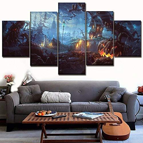 Dxzjn)5 dipinti su tela quadro su tela poster su tela stampa su tela hd decorazione per la casa pittura di halloween 5 pezzi zucca pipistrello arte da parete soggiorno modulare immagine op150x80cm