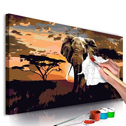 murando - Malen nach Zahlen Afrika Elefant 80x40 cm Malset mit Holzrahmen auf Leinwand für Erwachsene Kinder Gemälde Handgemalt Kit DIY Geschenk Dekoration n-A-0364-d-a
