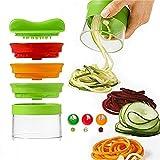 CGBOOM Spiralschneider, Rissen Spiralschneider Hand für Gemüsespaghetti, 3-Klingen Gemüse Spiralschneider Gemüseschneider, Gemüsehobel für Karotte, Gurke, Kartoffel,Kürbis, Zucchini, Zwiebel (Grüne)