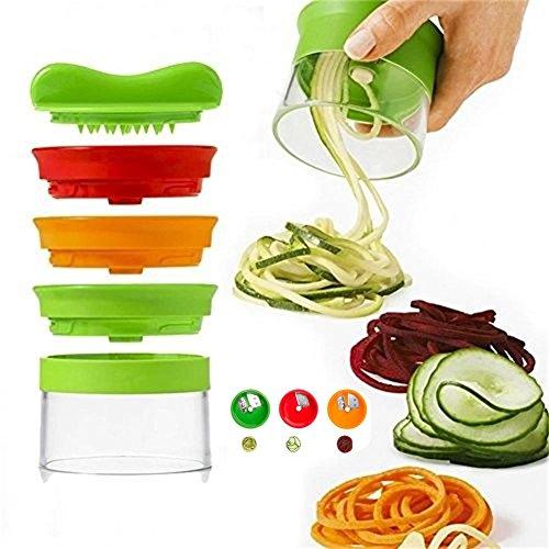 Spiralizzatore di verdure spiralizer affettatrice a spirale taglierino 3-lame manuale in plastica & aacciaio lavabile in lavastoviglie, crea spaghettini di verdura lunghi, antiscivolo bpa gratuito.