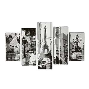Paris Déco Set de 5 toiles Gris - Alinea 150.0x100.0.