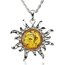 MESE London Collar Sol Colgante Ámbar Energía - Elegante Caja De Regalo