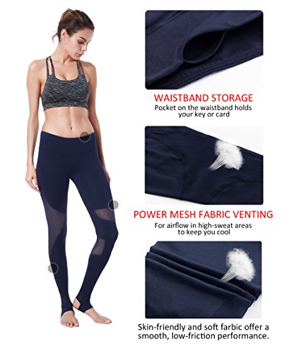 Queenie Ke Damen Leggings Technik Mesh Hohe Taille Elastique Jogging Yoga Pantalons Blau