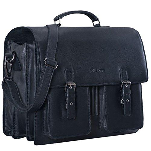 STILORD \'Anton\' Aktentasche Leder XL Schwarz Vintage Lehrertasche Laptopfach 15,6 Zoll große Ledertasche zum Umhängen Trolley aufsteckbar