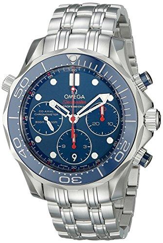 Omega hombre 21230425003001analógica pantalla automático viento reloj, color negro y plata
