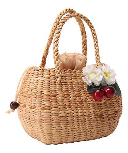 SugarShock Damen Korb Handtasche Djamila Kirschen Bast, Farbe:natur -