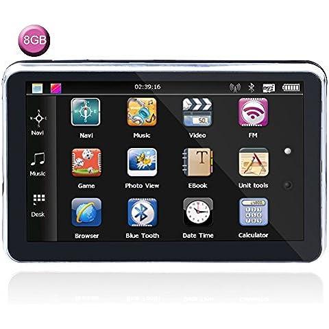 7 Pulgada LCD Toque Pantalla Coche GPS Navegación NAVEGACIÓN POR SATÉLITE Alto Definición Alto Precisión Impermeable con Reino Unido/UE Mapas 800MHZ FM Multifunción para Todas Vehículo GPS, Gratis Toda la vida Mapa Actualizaciones (8 GB)