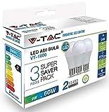 3-er SET V-TAC LED Birne 9W E27 806LM 4000K Tageslicht 200°
