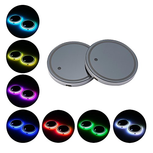 KOBWA LED Getränkehalter Matte Pad, LED Tasse Pad Benz Untersetzer 7 Farben Ändern USB Lade Matte Lumineszenz Cup Pad LED Matte Interior Atmosphäre Lampe Dekoration Licht (2 Stück