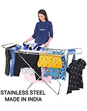 LiMETRO STEEL Stainless Steel Foldable Cloth Dryer Stand Double Rack Cloth Stands for Drying Clothes