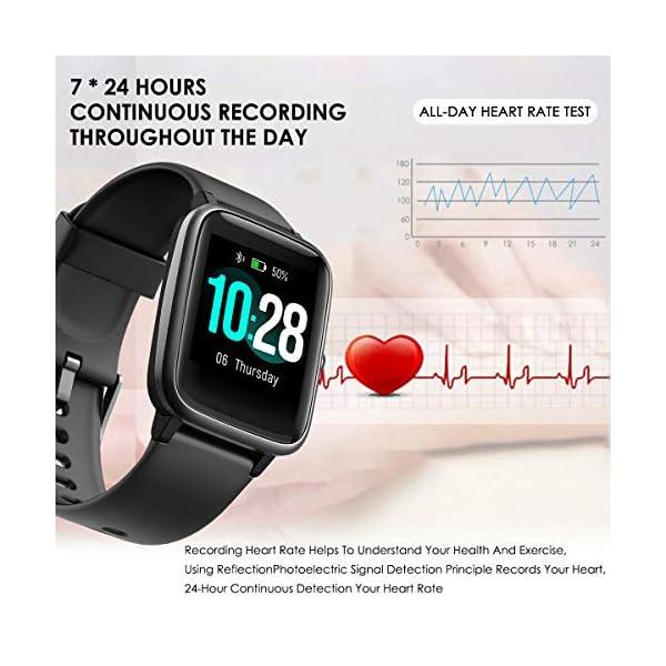 HOMVILLA Smartwatch Fitness Tracker Reloj Inteligente Impermeable IP68 Fitness con Monitor de Ritmo Cardíaco Podómetro Monitor de Sueño Cronómetro Temporizador para Hombres Mujeres iPhone Android rosado 3