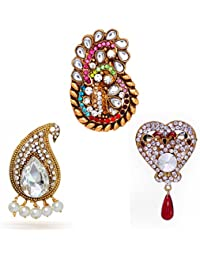 Jaipur Mart Gold Plated 90.00 Grams Multicolor Rhinestone Broochs Combo Set Of 3 Jewellery Gift For Her, Girl,...