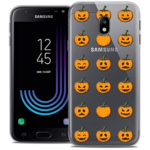 Caseink Hüllle für Samsung Galaxy J3 2017 J320 (5 Handyhülle Back case [Crystal Gel HD Sammlung Halloween Design Smiley Citrouille - Flexibel - Ultra Fin - Auf Wunsch frisch in Frankreich gedruckt]