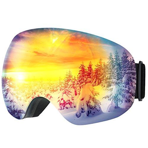 Occhiali da sci topop adulti snowboard occhiali da sci, unisex neve occhiali con anti-fog e trattamento di protezione uv400, super-grandangolo e sferica lente, per uomini e donne, grigio