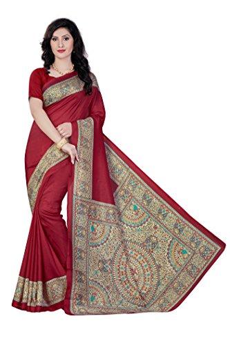 Vimla Novus Knitting Red Printed Casino Art Silk Uniform Saree with Blouse (5420 - B)