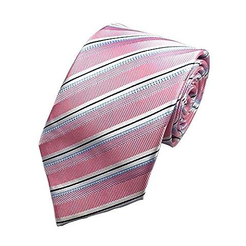 Z-P Mens Pink Stripe Luxury Elegant Necktie Knit Woven Jacquard Skinny Tie