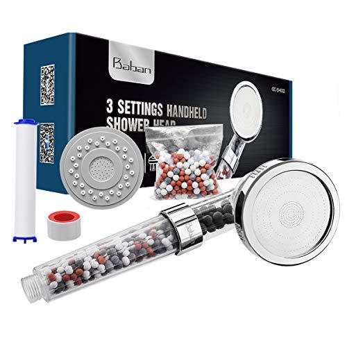 Baban Duschkopf, Drei-Wasser-Modus Filter-Handbrause, Wasserdruck erhöhen, ausgestattet mit einer PP-Baumwolle, einer Packung Filterkugeln und einem Panel -