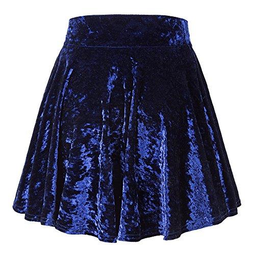 Urban GoCo Donna Vintage Svasata Mini Gonna da Pattinatrice Versatile Elastica di Velluto Gonna #2 Blu marino