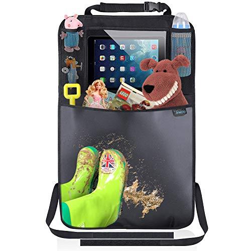 Termichy Auto Rückenlehnenschutz, Trittschutz mit Rücksitz-Organizer, Rücksitzschoner, Kick-Matten-Schutz für Autositz mit Durchsichtigem Großen iPad-Tablet-Halter Wasserdichtes (1 Stück)