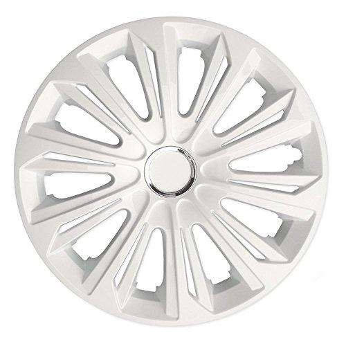 (Größe wählbar) 14 Zoll Radkappen / Radzierblenden STRONG WEISS (Farbe Weiß), passend für fast alle Fahrzeugtypen (universell) - nur beim Radkappen König