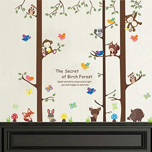 selbstklebend Birkenbaum Tiere Wandaufkleber Wohnzimmer Dekorationen Abziehbilder Safari Monkey Owlets Fox Wandbild Kunst Poster Kinder Geschenk