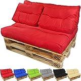 Cojines para europalé Lounge de proheim - Diferentes colores y variantes a elegir para crear elegantes sofás-palés, Color:Rojo, Variante:Cojín largo de respaldo