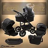 Ferriley & Fitz Easy One 4 in 1 Cochecito combinado Kit de viaje (base de asiento de coche ISOFIX, cubierta para la lluvia, mosquitero, ruedas giratorias 5 colores) 04 negro cuero ecología lógico
