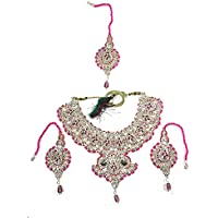 Mogul Innen Damen Indischen Bollywood Style Jewelry Sets Hochzeit Party Wear Brautschmuck Halskette Ohrringe Set ~ pink