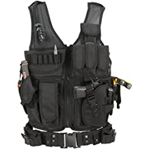 BARBARIANS Tactical Airsoft Vest Molle Military Paintball Vest Cross draw Vest Pistol Holster Assault Swat CS Game Vest Adjustable Lightweight