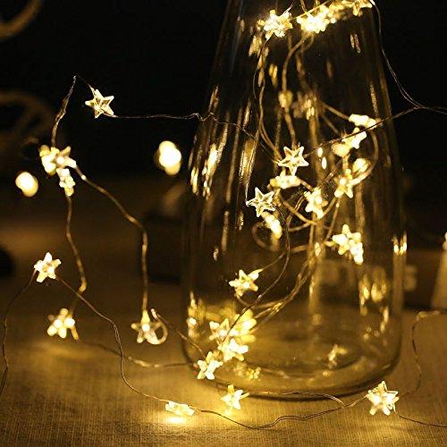2-set di 30-led starry fairy copper string light, lampada a filo anzome a batteria con stelle per camera, tenda, coperta, esterno, lucciole, decorazione bottiglia jar in natale, festa, evento- bianco