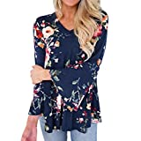 JUTOO Frauen, die Lange Aufflackern-Hülsen-Oberseiten T-Shirt Bluse Drucken(Blau,EU:42/CN:XL)
