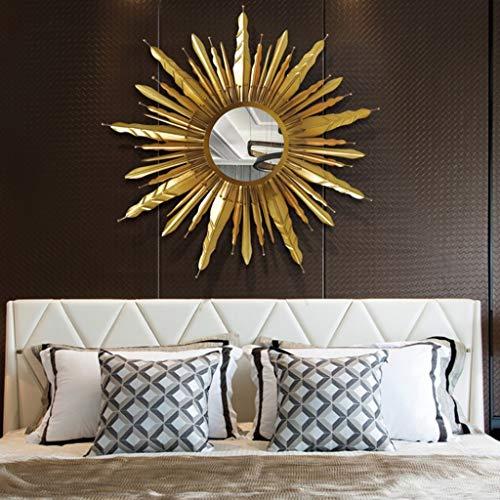 Marco de Hierro Forjado Espejo Decorativo Porche de Metal Dorado en Forma de Sol Diámetro de Espejo de Pared de Oro 60 cm (Tamaño : 80cm)