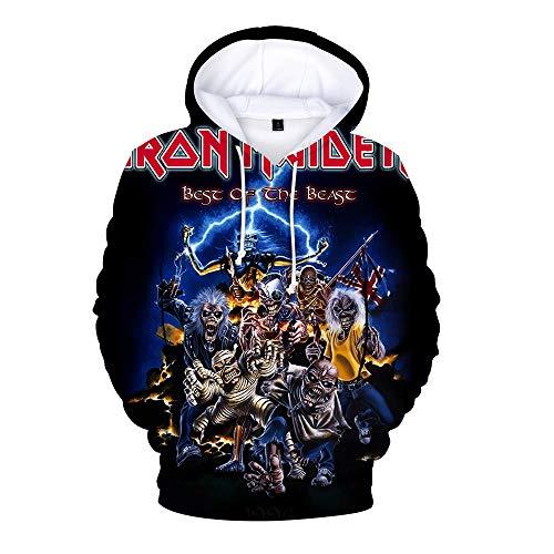 Bqjsdfjegd Unisex Iron Maiden Abrigos Padre-Hijo Usar Camisas Impresas Sudadera Casual 3D más la Camiseta del Terciopelo Estudiante Iron Maiden Sudaderas con Capucha (Color : A04, Size : 120)