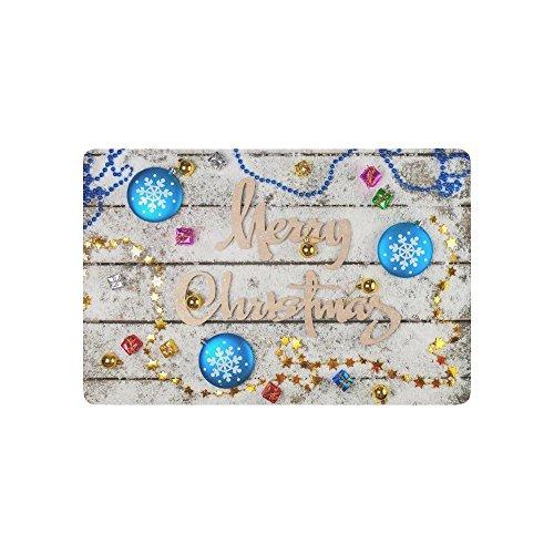 interestprint die Girlande von Gold Sterne rutschfeste Fußmatte Home Decor, Blue Christmas Schneeflocken Innen Outdoor Entrance Fußmatte Gummi Rückseite 59,9x 39,9cm (Claus Gummi Santa)