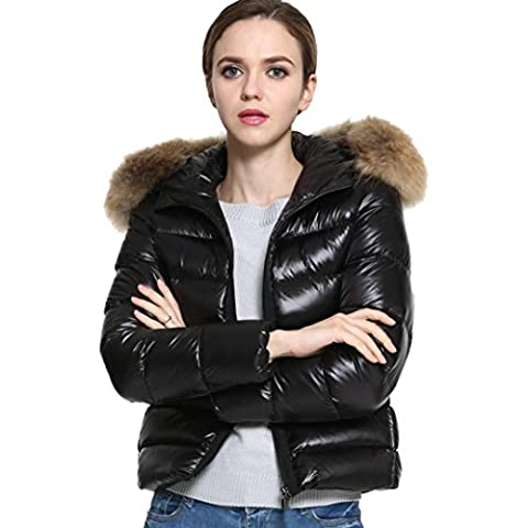 Women Down Jacket ,Down Cotton Parka Short Fur Collar Hooded Coat Quilted Jacket Autumn-winter (UK:8(S), Black)