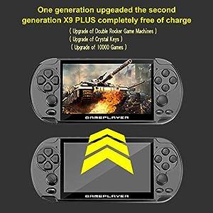 NAKELUCY 16G Handheld-PSP-Spielekonsole mit 5,1-Zoll-Bildschirm 128-Bit-Spielekonsole, PSP Double Rocker Handheld-Spielekonsole Retro-Spielekonsole Bunte Bildschirm Kinder Puzzle