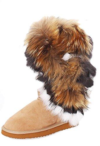 SKUTARI Damen Boots Fox Indian Schlupfstiefel Warm Gefüttert Wildleder-Stiefel, Sand, Größe 39 (Fransen Flache Stiefel Mokassin)